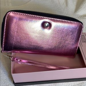 BCBG Zip around wristlet/wallet metallic pink. NWT